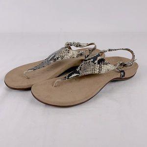 Vionic Snakeskin Slingback Thong Flat Sandals